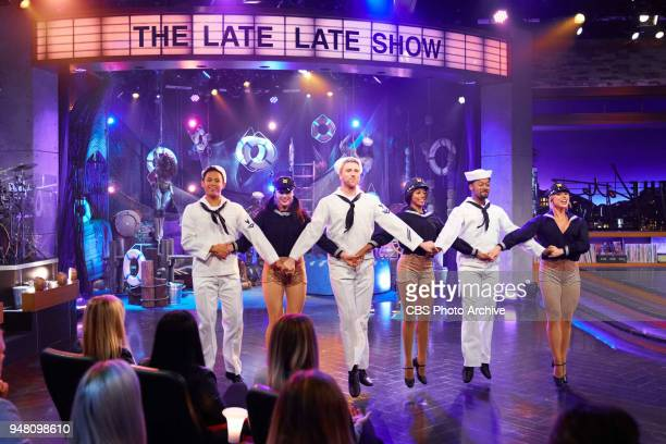 """Ice Cube and Jason Sudeikis perform in Ships Ahoy! with James Corden during """"The Late Late Show with James Corden,"""" Tuesday, April 17, 2018 On The..."""