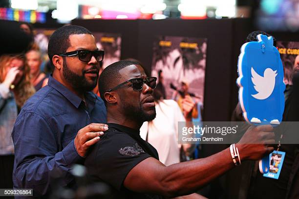 Ice Cube and Kevin Hart take a selfie as they arrive ahead of the Ride Along 2 Australian Premiere at Hoyts Melbourne Central on February 10, 2016 in...