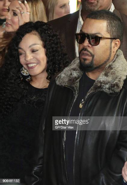 Ice Cube and Kimberly Woodruff are seen on January 17 2018 in Los Angeles CA