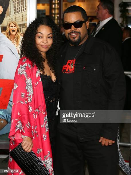 Ice Cube and Kimberly Woodruff attend premiere of Warner Bros Pictures' 'Fist Fight' on February 13 2017 in Westwood California