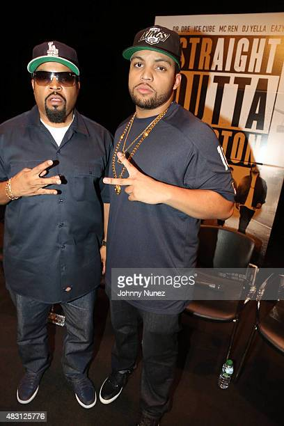 Ice Cube and O'Shea Jackson Jr attend the 'Straight Outta Compton' New York Screening at Florence Gould Hall Theater on August 5 in New York City