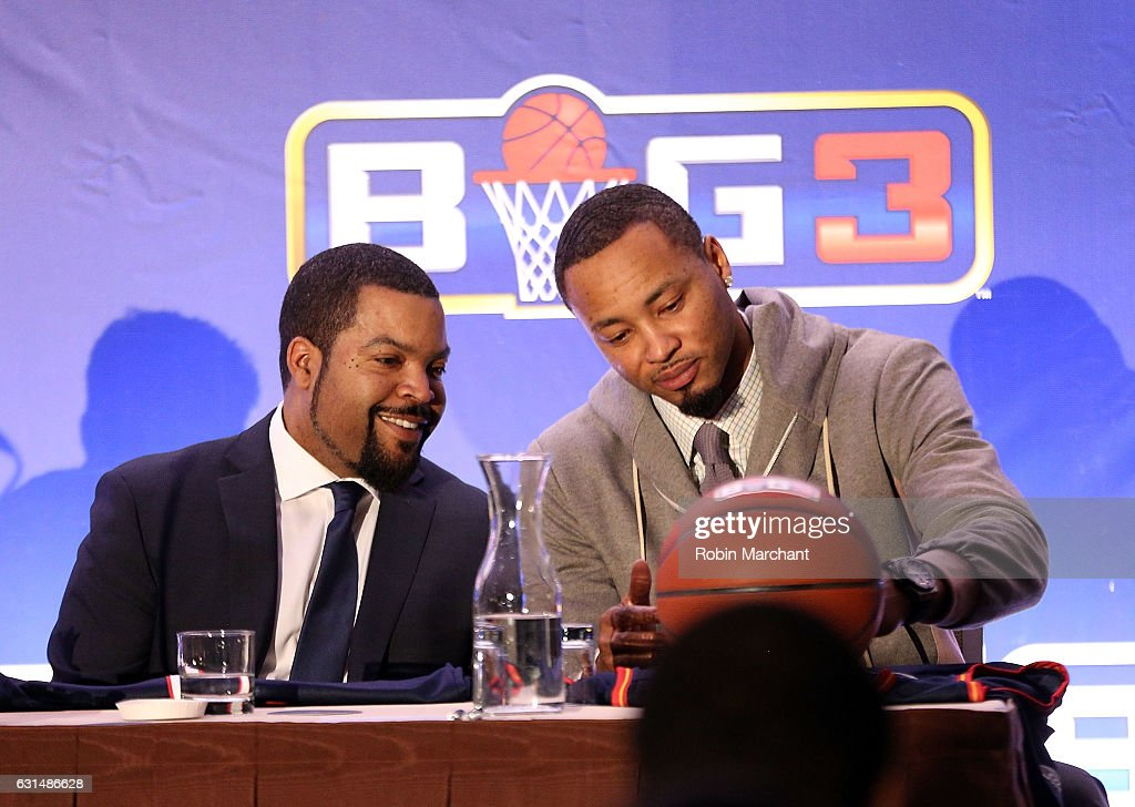 Ice Cube and Rashard Lewis attend BIG3 Press Conference on January 11, 2017 in New York City.
