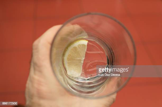 ice cube and slice of lemon inside the glass