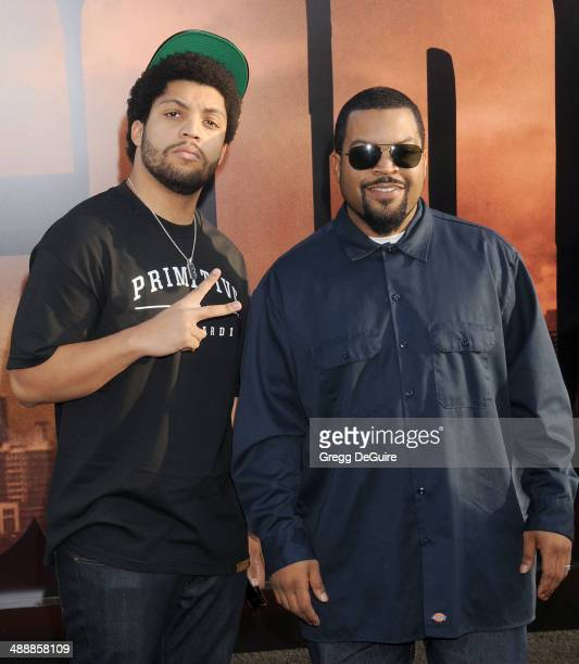 Ice Cube and son arrive at the Los Angeles premiere of Godzilla at Dolby Theatre on May 8 2014 in Hollywood California