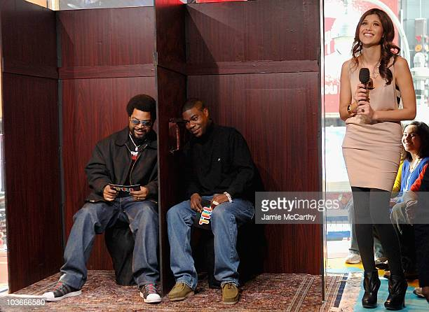 Ice Cube and Tracy Morgan sit in the TRL confession booth with MTV VJ Lyndsey Rodrigues on MTV's TRL at MTV Studios Times Square in New York City...