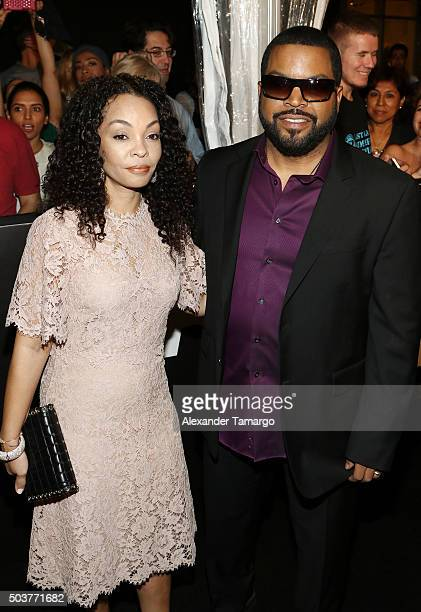Ice Cube and wife Kimberly Woodruff are seen arriving at the world premiere of the film Ride Along 2 on January 6 2016 in Miami Beach Florida