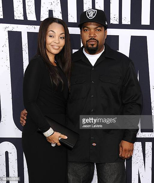 Ice Cube and wife Kimberly Woodruff attend the premiere of Straight Outta Compton at Microsoft Theater on August 10 2015 in Los Angeles California
