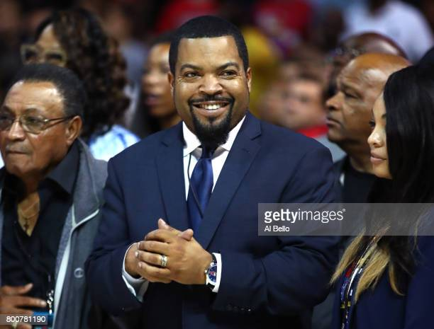 Ice Cube applauds during week one of the BIG3 three on three basketball league at Barclays Center on June 25 2017 in New York City