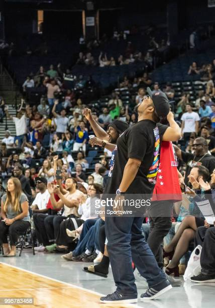 Ice Cube BIG3 League CoFounder and rapper/actor checks out a replay during game 1 in week three of the BIG3 3on3 basketball league on Friday July 6...