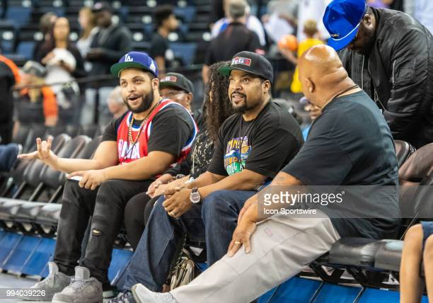 Ice Cube BIG3 League CoFounder and rapper/actor with O'Shea Jackson Jr getting ready for game 1 in week three of the BIG3 3on3 basketball league on...