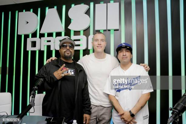 Ice Cube, Dj Skee, and Tattoo attend the Dream Hollywood x Dash radio launch Music Pop-Up on June 14, 2018 in Los Angeles, California.
