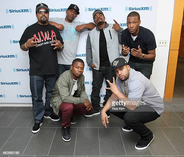 Ice Cube DJ Whoo Kid F Gary Gray Corey Hawkins Jason Mitchell and OÕShea Jackson Jr visit at SiriusXM Studios on August 4 2015 in New York City