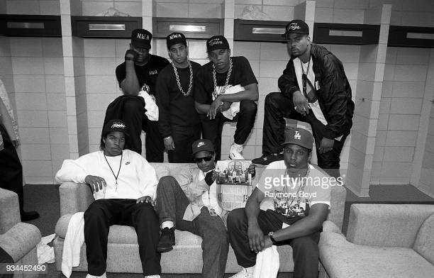 Ice Cube EazyE MC Ren and rapper Laylaw from Above The Law DJ Yella Dr Dre and rapper The DOC poses for photos before their performances during NWA's...