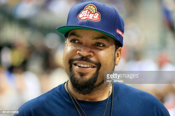 Ice Cube looks on during week six of the BIG3 three on three basketball league at American Airlines Center on July 30 2017 in Dallas Texas