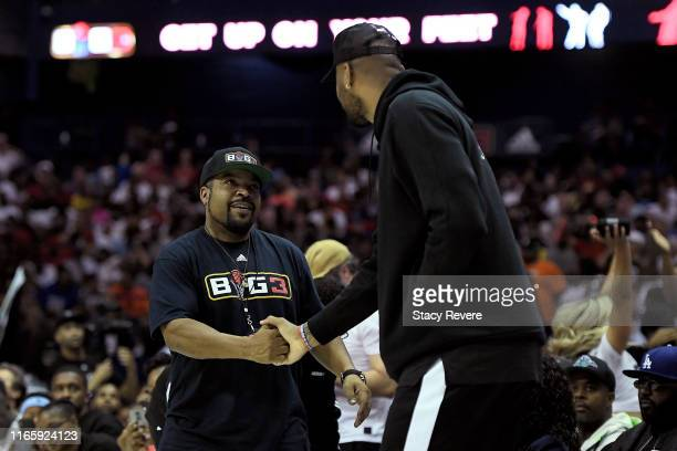 Ice Cube meets with DeMarcus Cousins during week seven of the BIG3 three on three basketball league at Allstate Arena on August 03 2019 in Chicago...