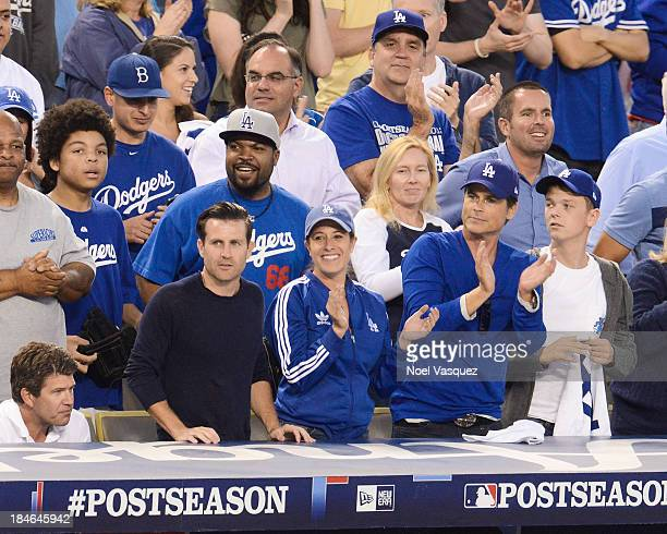 Ice Cube Robe Lowe and Matthew Edward Lowe attend Game Three of the National League Championship Series at Dodger Stadium on October 14 2013 in Los...
