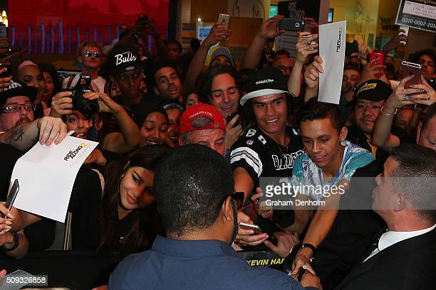 Ice Cube signs his autograph for fans ahead of the Ride Along 2 Australian Premiere at Hoyts Melbourne Central on February 10, 2016 in Melbourne,...