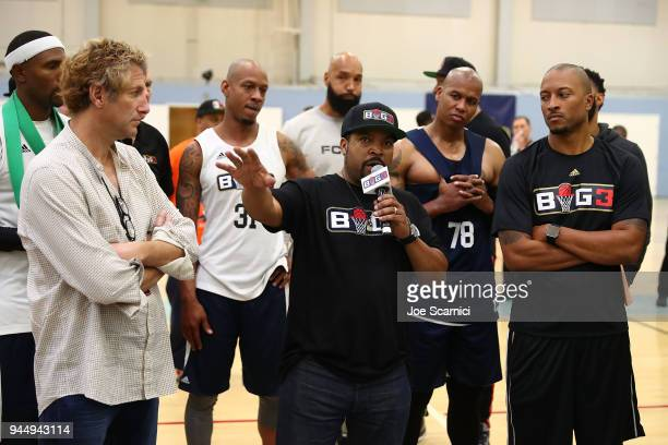 Ice Cube speaks to the athletes during the BIG3 2018 Player Combine at Santa Monica College on April 11 2018 in Santa Monica California