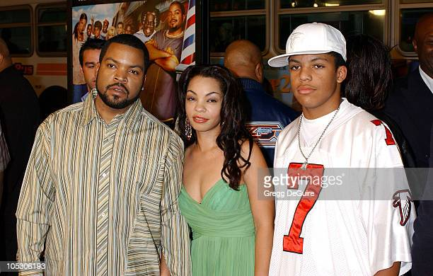 Ice Cube wife Kim and son O'Shea during Barbershop 2 Back in Business Premiere at Grauman's Chinese Theatre in Hollywood California United States