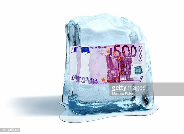 Ice Cube with Paper Money Inside