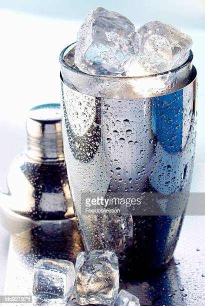 Ice cubes in cocktail shaker