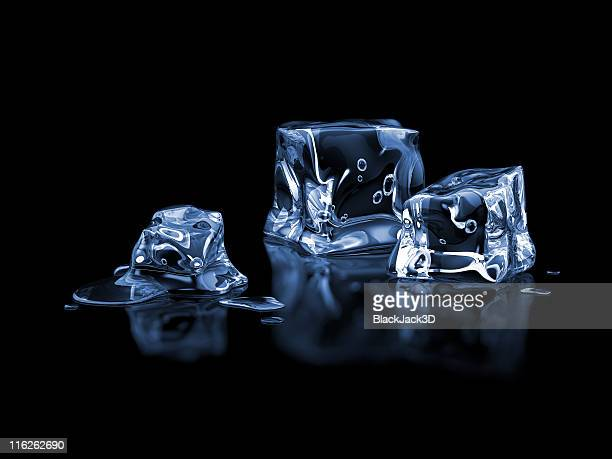 ice cubes on a black background  - ice cube stock photos and pictures