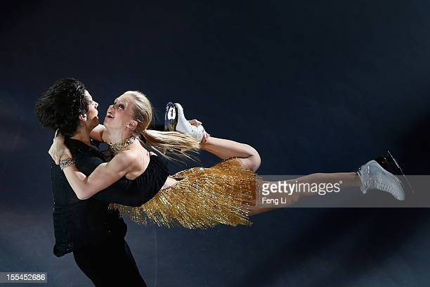Ice dance bronze medalists Kaitlyn Weaver and Andrew Poje of Canada perform during Cup of China ISU Grand Prix of Figure Skating 2012 at the Oriental...