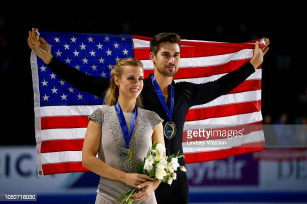 Ice dance gold medalists Zachary Donohue and Madison Hubbell of the USA pose for photos after the medal ceremony on day three of the 2018 ISU Grand...