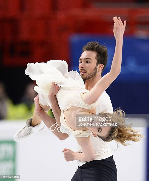Ice dance pair Gabriella Papadakis and Guillaume Cizeron of France perform their free dance programme during to win the ISU European Figure Skating...