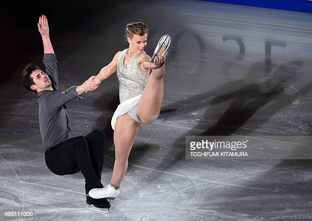 Ice dance pair Madison Hubbell and Zachary Donohue of the US perform during the gala exhibition at the ISU Grand Prix figure skating NHK Trophy in...