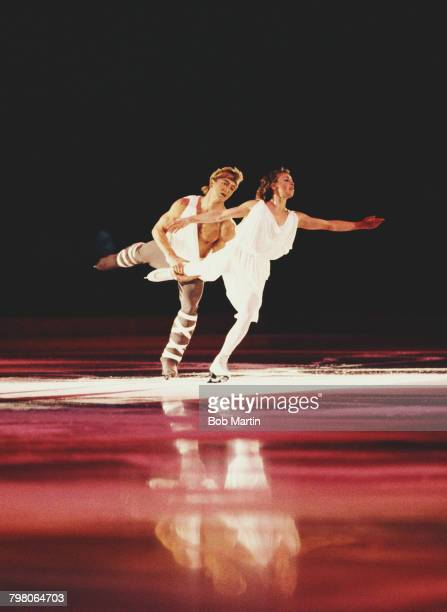 Ice dance skaters Jayne Torvill and Christopher Dean of Great Britain perform A Shepherds Song from Songs of the Auvergne by the Composer Joseph...