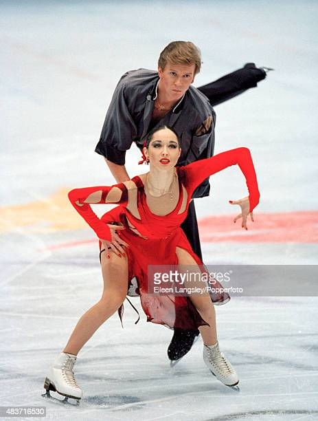 Ice dancers Anjelika Krylova and Oleg Ovsyannikov of Russia in action during the Winter Olympic Games in Nagano circa February 1998 The pair won the...