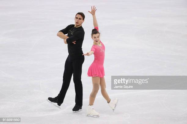 Ice dancers Anna Duskova and Martin Bidar of Czech Republic train during a practice session ahead of the PyeongChang 2018 Winter Olympic Games at...