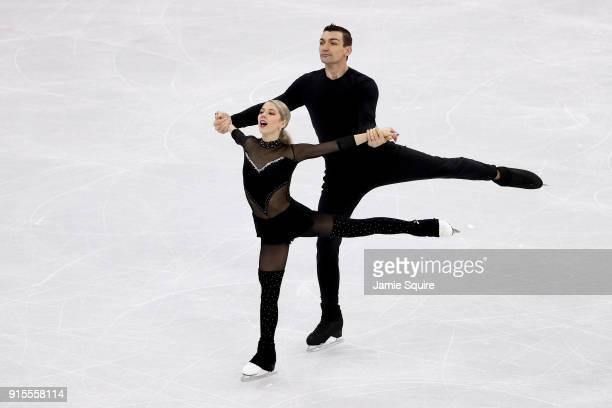 Ice dancers Chris Knierim and Alexa Scimeca Knierim of the United States train during a practice session ahead of the PyeongChang 2018 Winter Olympic...