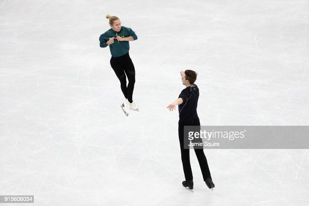 Ice dancers Ekaterina Alexandrovskaya and Harley Windsor of Australia train during a practice session ahead of the PyeongChang 2018 Winter Olympic...