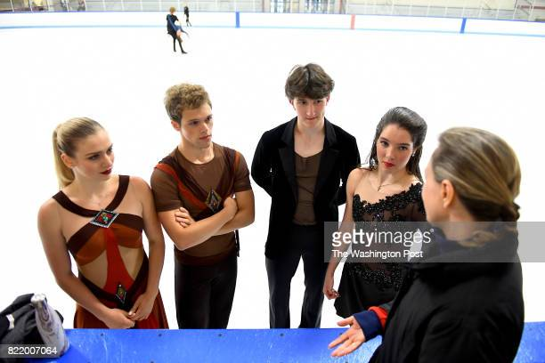 Ice Dancers from left Rachel and Michael Parsons and Quinn Carpenter and Lorraine McNamara talk with coach Elena Novak during practice at Wheaton Ice...
