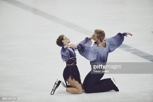Ice dancers Jayne Torvill and Christopher Dean of Great Britain perform their Bolero routine for the Ice Dance Skating at the XIV Olympic Winter...
