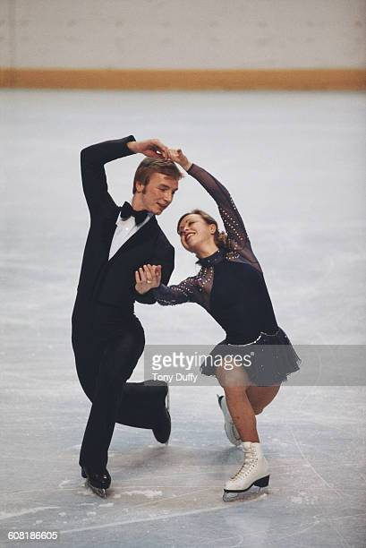 Ice dancers Jayne Torvill and Christopher Dean of Great Britain perform during the Ice Dance Skating category at the European Figure Skating...