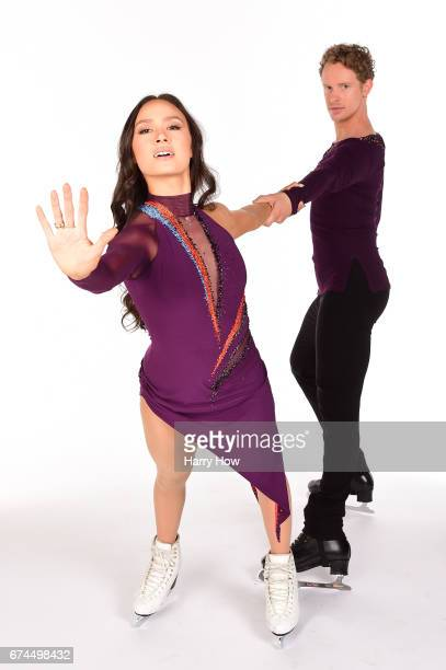 Ice dancers Madison Chock and Evan Bates pose for a portrait during the Team USA PyeongChang 2018 Winter Olympics portraits on April 28, 2017 in West...