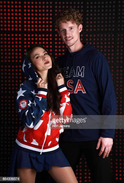 Ice Dancers Madison Chock and Evan Bates pose for a portrait during the Team USA Media Summit ahead of the PyeongChang 2018 Olympic Winter Games on...