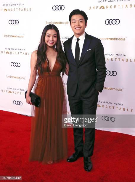 Ice dancers Maia Shibutani and Alex Shibutani attend the Unforgettable Gala 2018 at The Beverly Hilton Hotel on December 08 2018 in Beverly Hills...