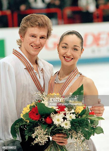 Ice dancers Oleg Ovsyannikov and Anjelika Krylova of Russia after winning the silver medal at the European Figure Skating Championships in Paris...