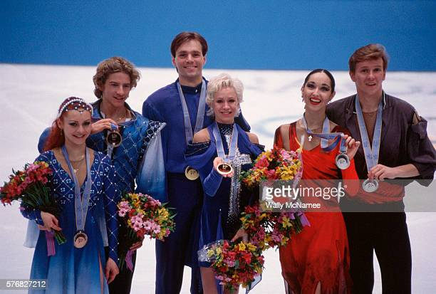 Ice dancing medalists atop the podium in White Ring during the 1998 Winter Olympics