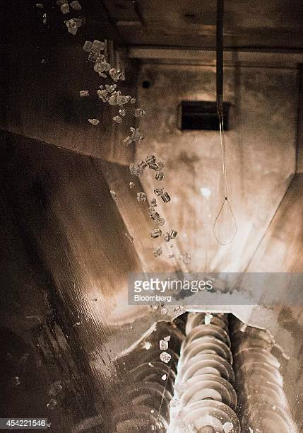 Ice falls into a stainless steel bin and is then moved by an auger onto a conveyor belt before being moved to the packaging department for bagging at...