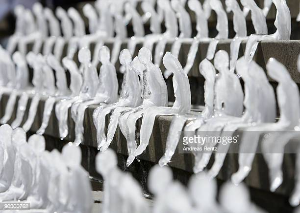 Ice figures are pictured on the steps of the concert hall at Gendarmenmarkt on September 2 2009 in Berlin Germany The World Wildlife Fund is hoping...