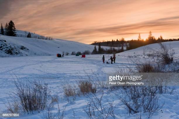 Ice Fishing at Dawn