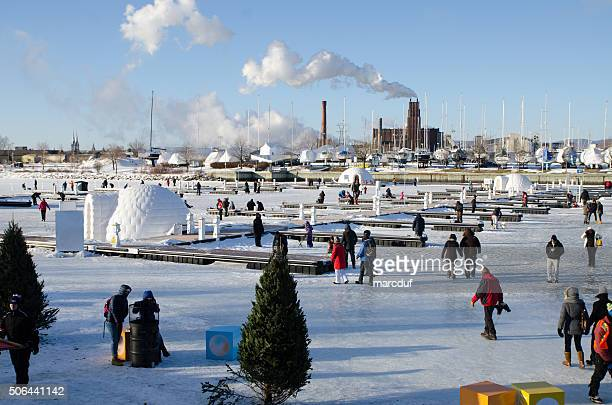 Ice fishing at Quebec Old Port