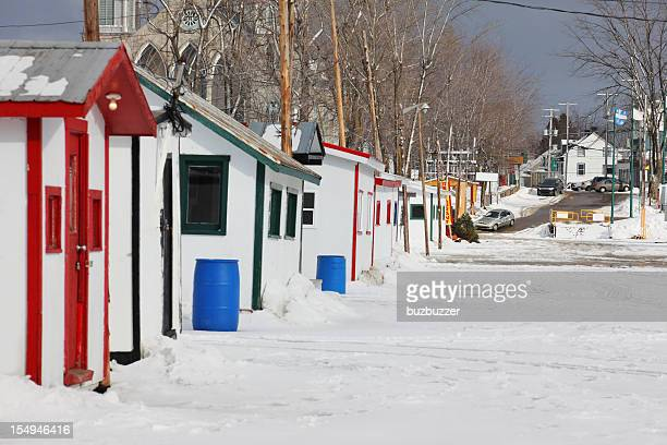 Ice fishing cabins in Winter