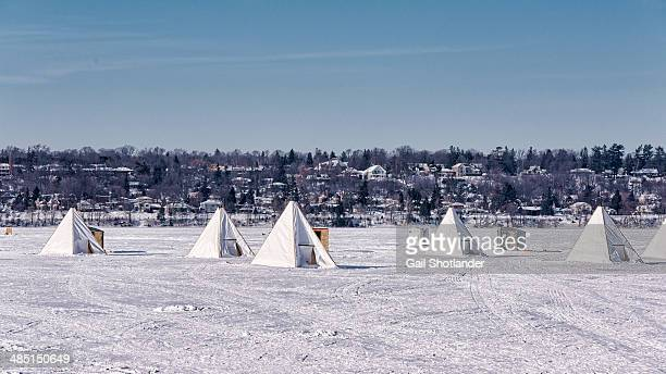 ice fishing in teepees - barrie stock pictures, royalty-free photos & images
