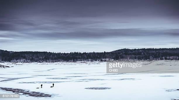 Ice fishing on remote lake